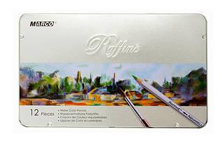 Набір акварельних олівців Marco Raffine 12 кольорів в металевому пеналі 7120-12TN