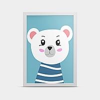 Постер на стену Белый медвеженок 30*40 см