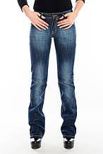 Женские джинсы OMAT 9203 клёш от колена синие