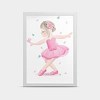 Постер в детскую на стену Балерина Розовый 30*40 см
