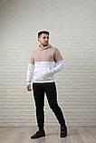 Мужской спортивный костюм - кофейно-белая худи и черные штаны, фото 4