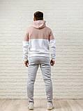 Мужской спортивный костюм - кофейно-белая худи и серые штаны, фото 2
