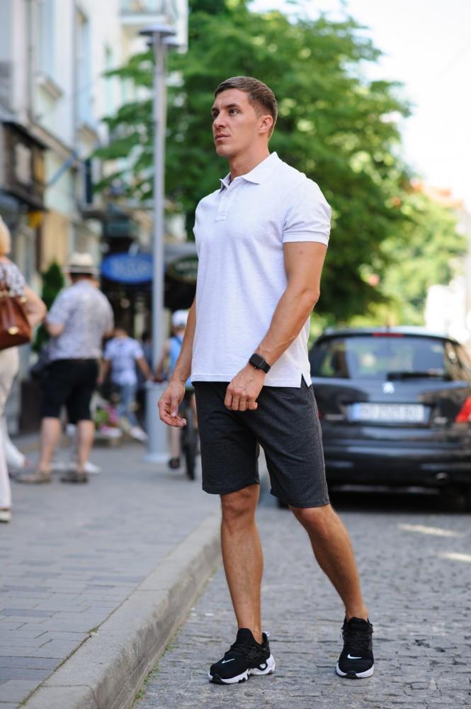 Комплект - шорты антрацит и белая футболка поло