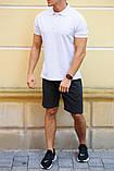 Комплект - шорты антрацит и белая футболка поло, фото 2