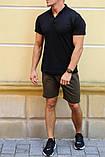 Комплект - хаки шорты и черная футболка поло, фото 2