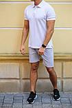Комплект - серые шорты и белая футболка поло, фото 2