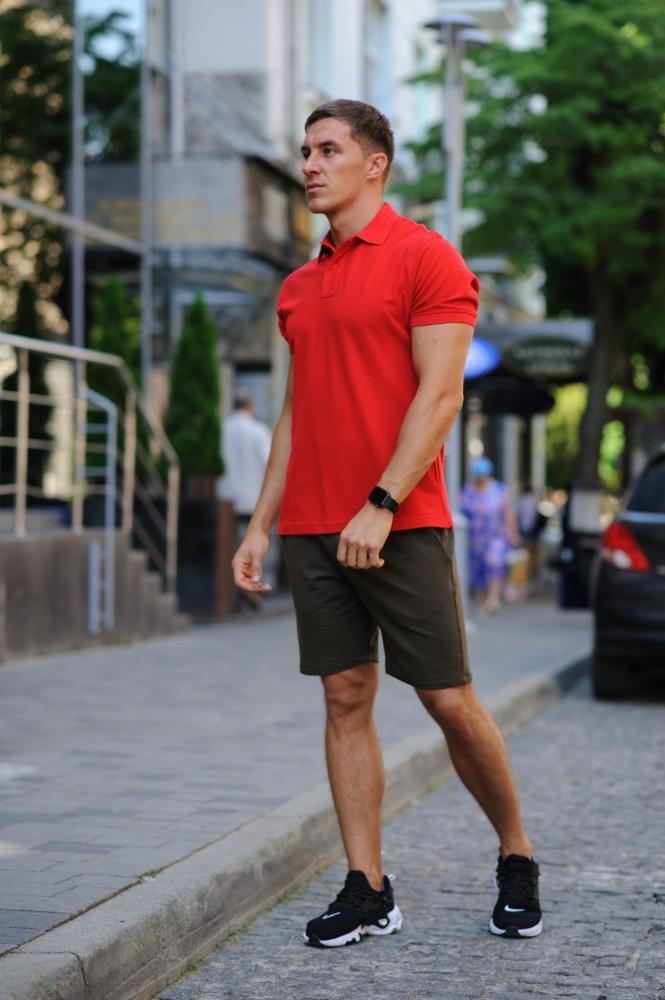 Комплект - хакі шорти і червона футболка поло