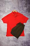 Комплект - хакі шорти і червона футболка поло, фото 2