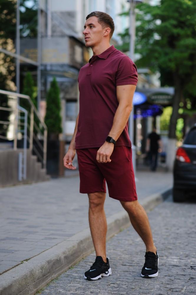 Комплект - бордо шорты и бордовая футболка поло