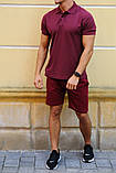 Комплект - бордо шорты и бордовая футболка поло, фото 2