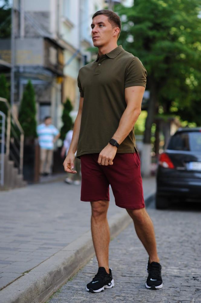 Комплект - бордо шорты и хаки футболка поло