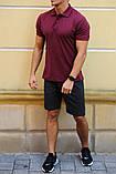 Комплект - темно-серые шорты и бордовая футболка поло, фото 2