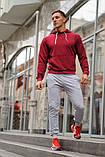 Мужской спортивный костюм бордовая худи и серые штаны (весна-осень), фото 2