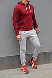Мужской спортивный костюм бордовая худи и серые штаны (весна-осень), фото 3