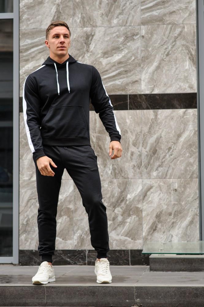 Мужской спортивный костюм черная худи с лампасами и черные штаны (весна-осень)
