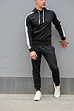 Мужской спортивный костюм черная худи с лампасами и черные штаны (весна-осень), фото 2