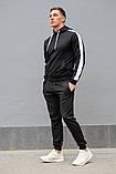 Мужской спортивный костюм черная худи с лампасами и черные штаны (весна-осень), фото 3