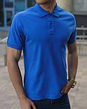 Синяя мужская футболка поло, фото 2