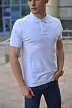 Світло-сіра чоловіча футболка поло, фото 2