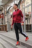 Мужской спортивный костюм - бордо худи с лампасами и черные штаны с лампасами (весна-осень), фото 2