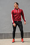 Мужской спортивный костюм - бордо худи с лампасами и черные штаны с лампасами (весна-осень), фото 5