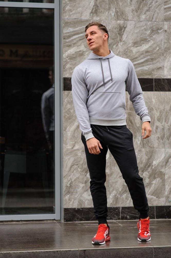 Мужской спортивный костюм серая худи и черные штаны (весна-осень)