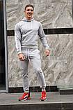 Серый мужской спортивный костюм с белыми лампасами (весна-осень), фото 2