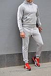 Серый мужской спортивный костюм с белыми лампасами (весна-осень), фото 4