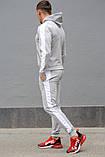 Сірий чоловічий спортивний костюм з білими лампасами (весна-осінь), фото 5