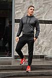 Мужской спортивный костюм темно-серая худи и черные штаны (весна-осень), фото 2