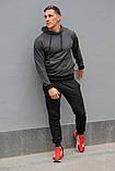 Мужской спортивный костюм темно-серая худи и черные штаны (весна-осень), фото 4