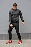 Мужской спортивный костюм темно-серая худи и черные штаны (весна-осень), фото 5