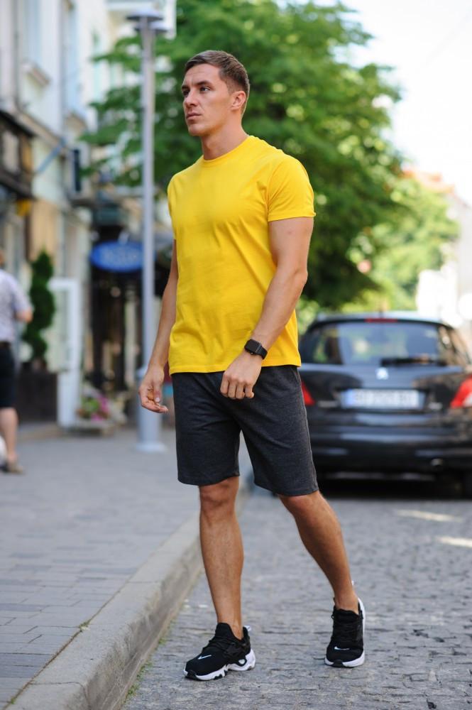 Летний мужской комплект - желтая футболка и темно-серые шорты (антрацит)