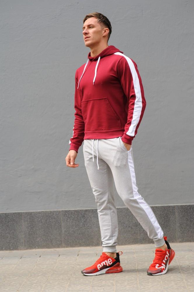 Мужской спортивный костюм - бордо худи с лампасами и серые штаны с лампасами (весна-осень)