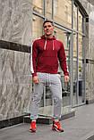 Мужской спортивный костюм - бордо худи с лампасами и серые штаны с лампасами (весна-осень), фото 3