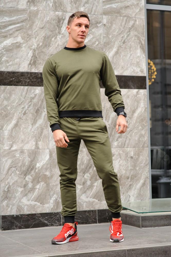 Оливковий (хакі) чоловічий спортивний костюм - свитшоты і штани (весна-осінь)