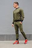 Оливковий (хакі) чоловічий спортивний костюм - свитшоты і штани (весна-осінь), фото 4