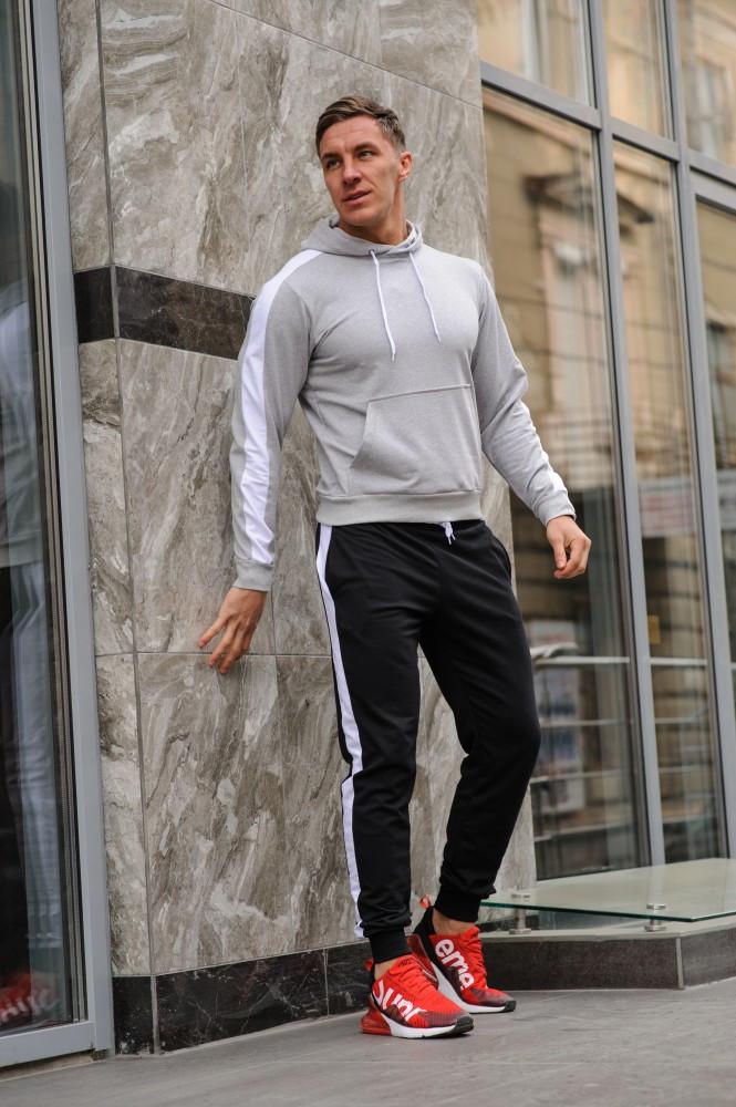 Мужской спортивный костюм - серая худи с лампасами и черные штаны с лампасами (весна-осень)