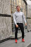 Мужской спортивный костюм - серая худи с лампасами и черные штаны с лампасами (весна-осень), фото 2