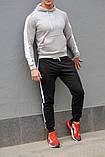 Мужской спортивный костюм - серая худи с лампасами и черные штаны с лампасами (весна-осень), фото 3