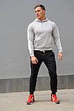 Мужской спортивный костюм - серая худи с лампасами и черные штаны с лампасами (весна-осень), фото 4