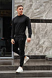 Черный мужской спортивный костюм - свитшот и штаны (весна-осень), фото 2