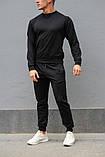 Черный мужской спортивный костюм - свитшот и штаны (весна-осень), фото 3