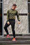 Мужской спортивный костюм - хаки свитшот и черные штаны, фото 3
