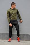 Мужской спортивный костюм - хаки свитшот и черные штаны, фото 4