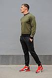 Мужской спортивный костюм - хаки свитшот и черные штаны, фото 5