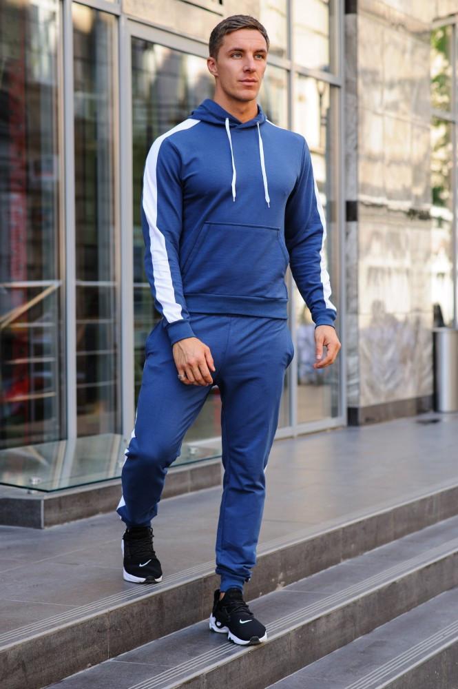 Мужской синий костюм с лампасами (весна-осень)