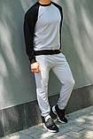 Мужской спортивный костюм - серый свитшот с черными рукавами и серые штаны (весна-осень), фото 2