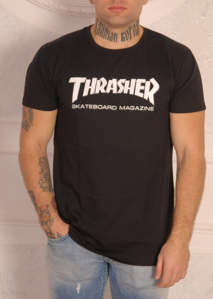 Черная футболка Thrasher