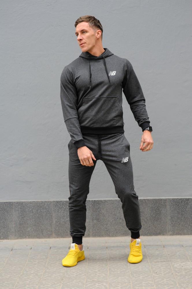 Темно-серый мужской спортивный костюм New Balance (Нью Беленс), весна-осень (реплика)